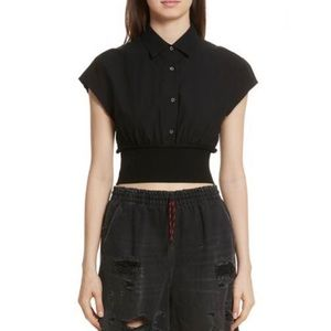 ALEXANDER WANG Black Cropped Cotton Poplin Blouse